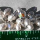 Pearl Crystal AB Silver Chain Cluster Vintage