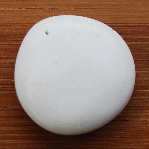 Soft White Riverstone Focal Bead 25x25mm