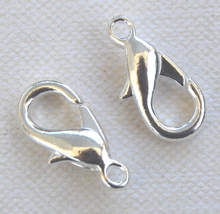 One Silver-Plated Lobster Clasp Large 16x8mm Qty 2