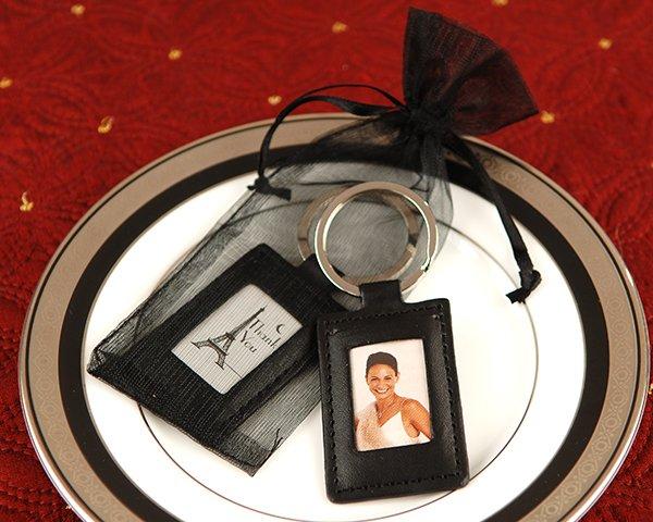Leather Frame Keychain in Sheer Organza Bag