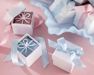 """""""It's a Boy!"""" - """"It's a Girl!"""" Giftbox Candles with Imprinted Ribbon- Set of 4"""
