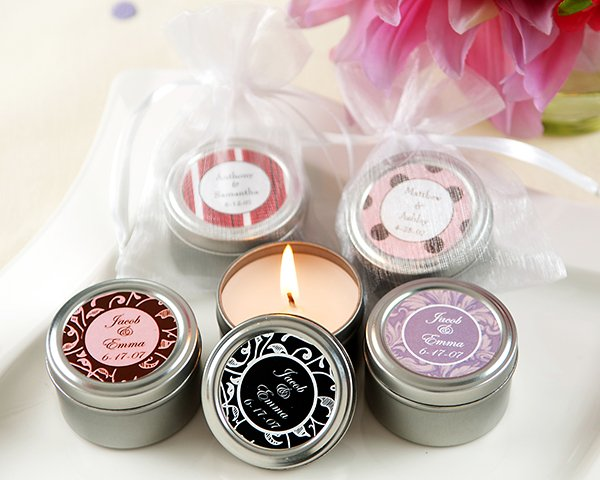 Personalized Travel Candle with Sheer Organza Bag