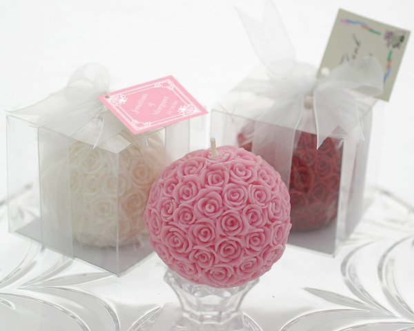 Rose Ball Candle in Gift Box with Matching Bow and Tag