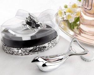 "The ""Love Dove"" Silver Chrome Bottle Opener in Elegant Oval Showcase Giftbox"
