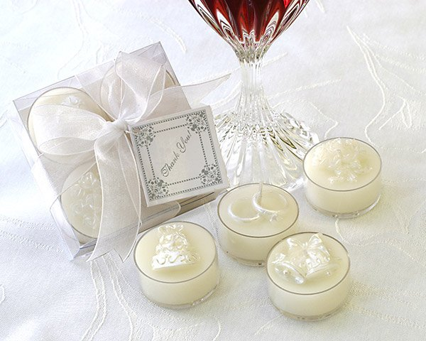 Classic White Wedding Pearlized Tealight Candle Set
