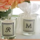 """Our New Monogram"" Monogrammed Votive Candle in Sheer Organza Bag"