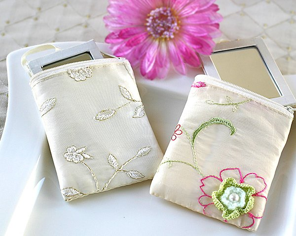 Padded Silk Travel Mirror in Matching Embroidered Silk Pouch (Set of 4)