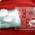 Crystal Snowflake Glass Coasters