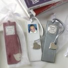 """Memories"" Leather Photo Bookmark with Silver Heart Charm in Sheer Organza Bag"