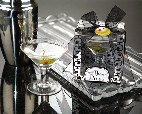 """Cocktails Anyone?"" Martini Glass Gel Candle"