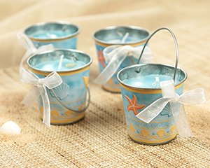 'Beaches' Tin Pail Candle with Authentic Shells (Set of 4)