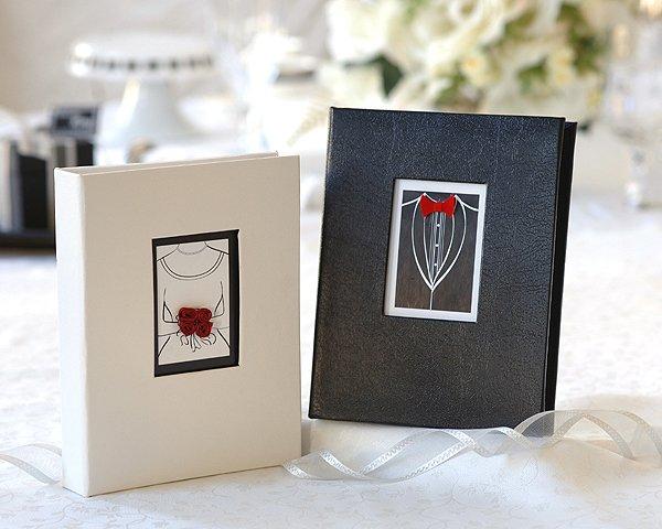 """""""Black Tie Affair"""" Bride and Groom Photo Album Favors"""