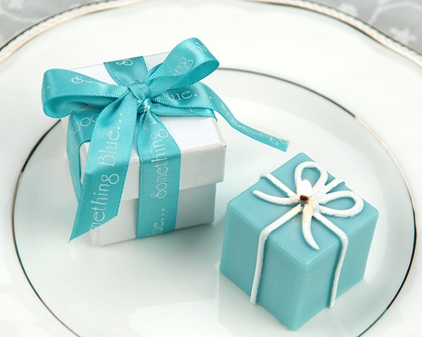 """""""Something Blue"""" Gift Box Candle in Pearlized Box with Satin Printed Ribbon"""