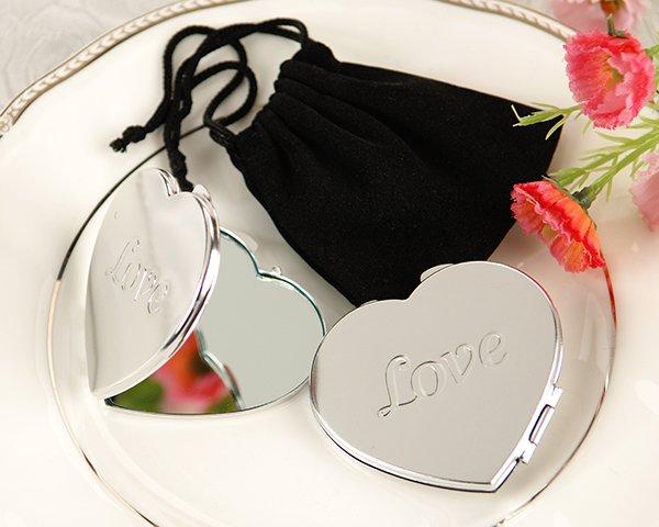 LOVE Heart Compact Mirror in Black Velvet Pouch