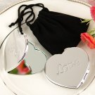 LOVE Heart Compact Mirror in Black Velvet Pouch