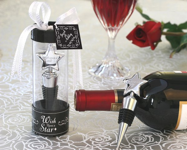 """Wish Upon A Star"" Bottle Stopper with Rhinestone Accents in Tall Showcase Display Box"