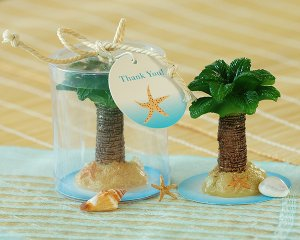 Palm Tree Candle in Display Box with Rope Ribbon and Tag