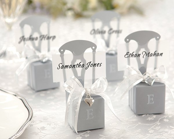 Miniature Silver Chair Favor Box w/  Heart Charm & Ribbon (Can be Monogrammed)