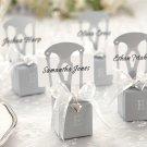 Miniature Silver Chair Favor Box w/  Heart Charm & Ribbon (Can be Monogrammed)
