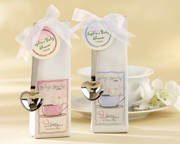 """""""Baby is Brewing"""" Coffee Kit with Heart Scoops and Optional Personalized Tags"""