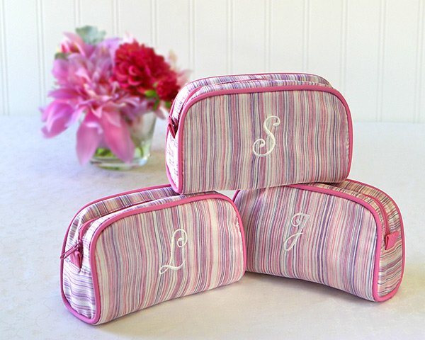 Shimmer & Stripes - Monogrammed Cosmetic Bag