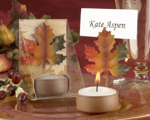 Fall Leaf TeaLight and Place Card Holder with Autumn-themed Gift Box (Set of 4)