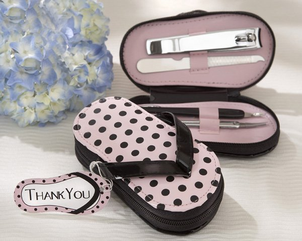 """""""Pink Polka Flip Flop"""" Five Piece Pedicure Set with Matching """"Thank you"""" Tag"""