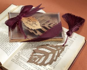 """Turning Leaves"" Bookmark with Burgundy Silk Tassel"