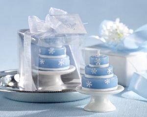 """Icing on the Cake"" Winter Wedding-Cake Candle (Set of 4)"