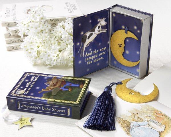 """Over the Moon"" Vintage Moon Bookmark with Tassel in Nursery Rhyme Keepsake Book Box"