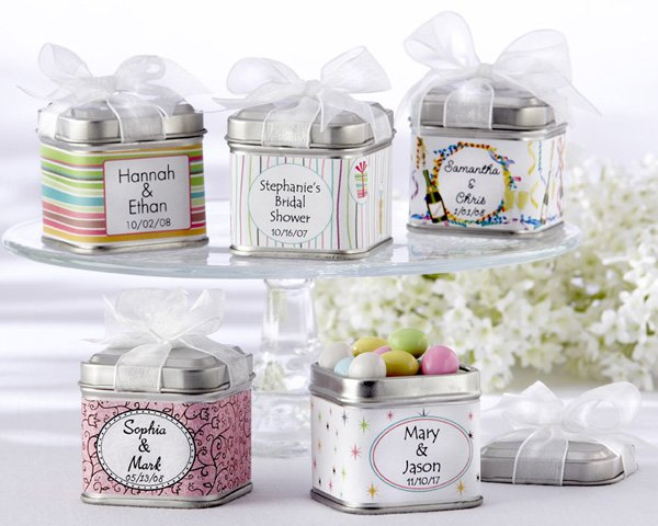 """""""Unexpected Treasures!"""" Favor Tin with Pre-Tied Organza Bow & 40 Custom Designer Labels (Set of 12)"""