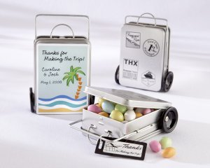 """""""Miles of Memories"""" Suitcase Favor Tins with Optional Personalized Labels(Set of 12)"""