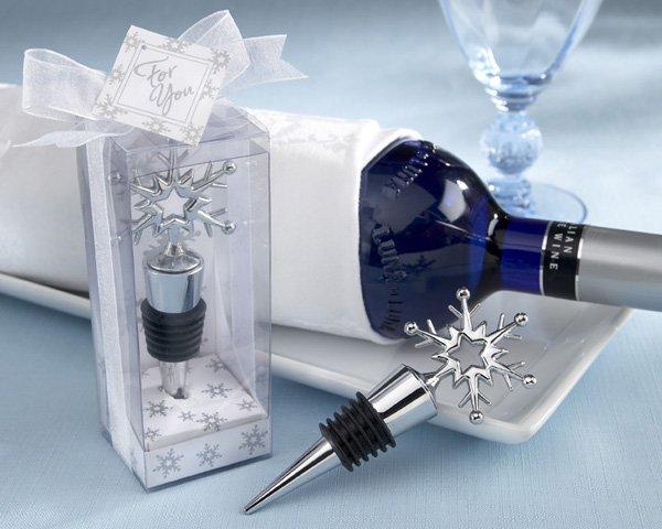 Snowflake Bottle Stopper in Shimmering Gift Box