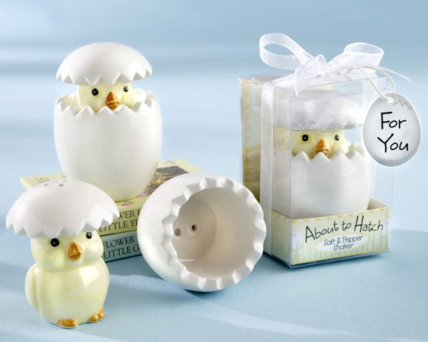"""""""About to Hatch"""" Ceramic Baby Chick Salt & Pepper Shakers"""