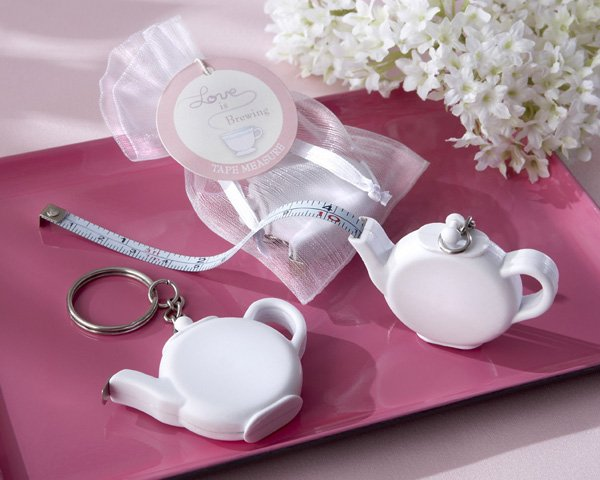 """Love is Brewing"" Teapot Tape Measure Keychain"