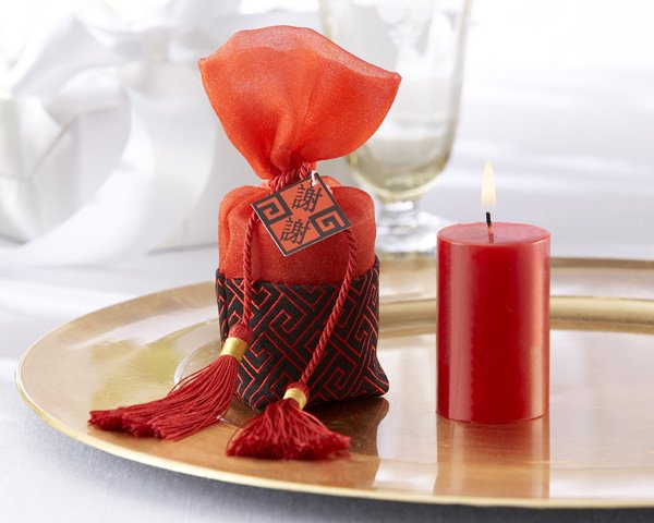 """Chinese Tapestry"" Votive Candle in Silken Pouch with Tassels"