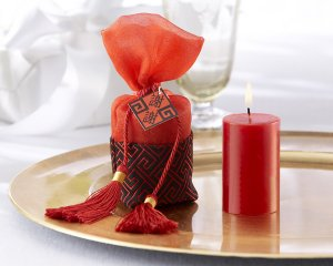 """""""Chinese Tapestry"""" Votive Candle in Silken Pouch with Tassels"""