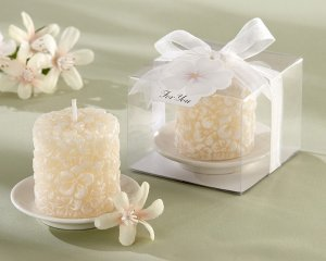 """""""Plumeria"""" Floral-Scented Candle with Ceramic Candle Holder (Set of 4)"""