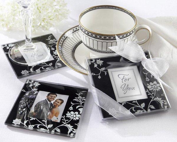 """Timeless Traditions"" Elegant Black & White Glass Photo Coasters"
