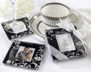 """Timeless Traditions"" Elegant Black & White Glass Photo Coasters"