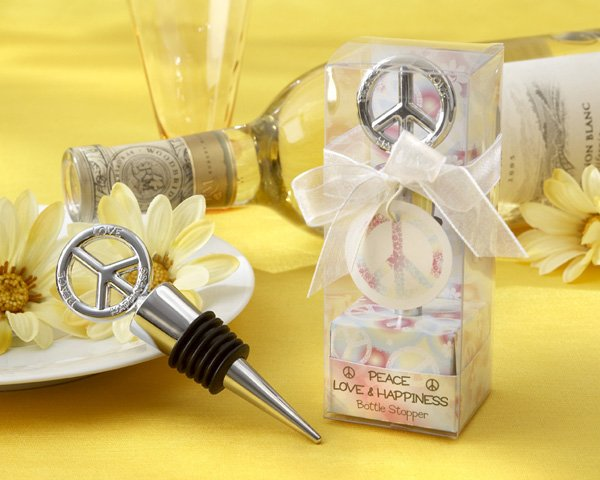"""""""Peace, Love & Happiness"""" Chrome Peace Bottle Stopper in Tie-Dyed Giftbox"""