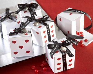 """""""Lucky in Love"""" Dice Favor Boxes with Imprinted Ribbon and Heart Charm (Set of 24)"""