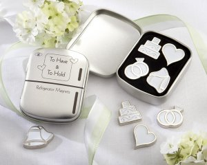 """""""To Have & To Hold"""" Set of Four Magnets in Classic """"Refrigerator"""" Tin"""