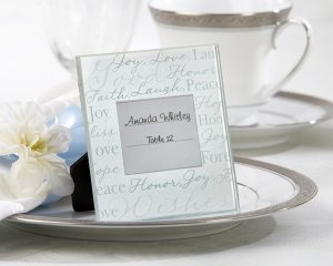 """""""Good Wishes"""" Pearlized-Glass Photo Frame/Place Card Holder (Set of 4)"""