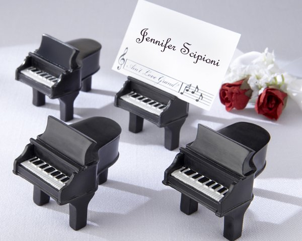 """""""Ain't Love Grand?"""" Piano Place Card Holders with Cards (Set of Four)"""