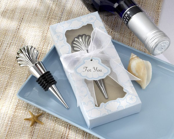 Chrome Shell Bottle Stopper in Beach-Themed Gift Box