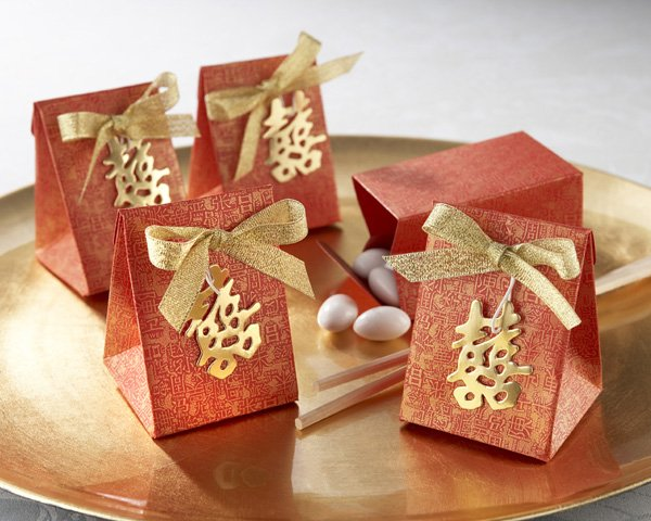"""Double Happiness"" Asian-Themed Favor Box with Metallic-Gold Symbol and Bow (Set of 24)"