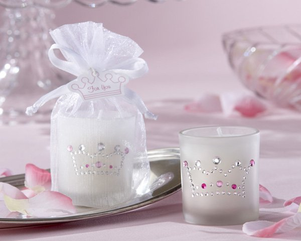 """""""Crown Jewels"""" Frosted-Glass Votive Candle with Rhinestones (Set of Four)"""