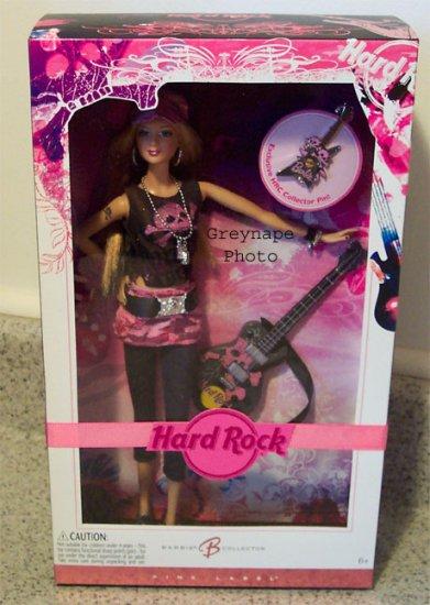 NRFB Hard Rock Cafe  Barbie Doll 2007 Pink Label Doll MNRFB