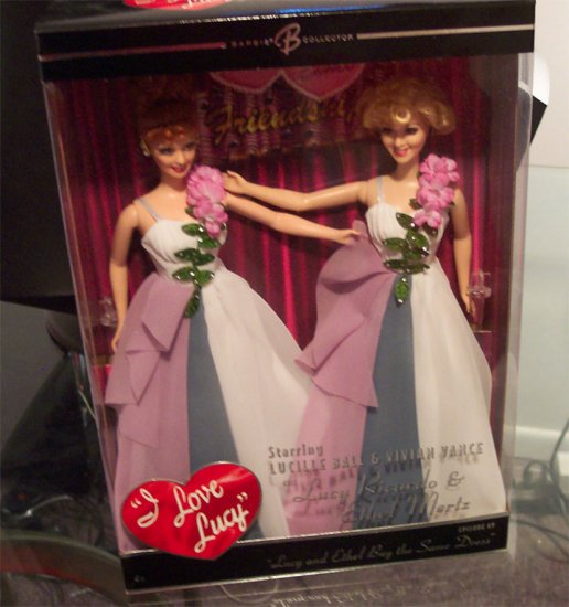 NRFB  Barbie I LOVE LUCY and ETHEL BUY THE SAME DRESS MNRFB